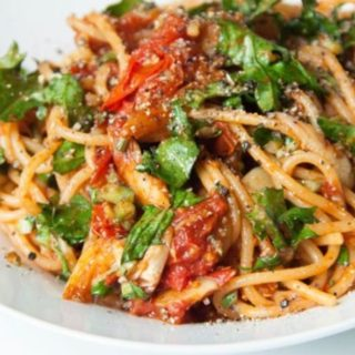 Spaghetti with Melted Tomatoes and Kale