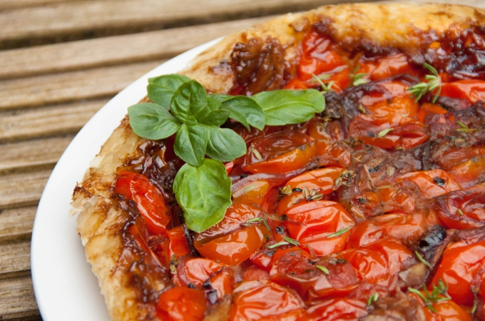 Tomato Tarte Tatin • The Greedy Vegan