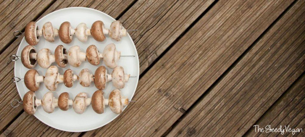 Barbecued Garlicky Mushroom Kebabs