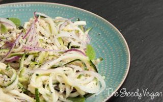 Raw Zucchini Noodle Salad with Mint