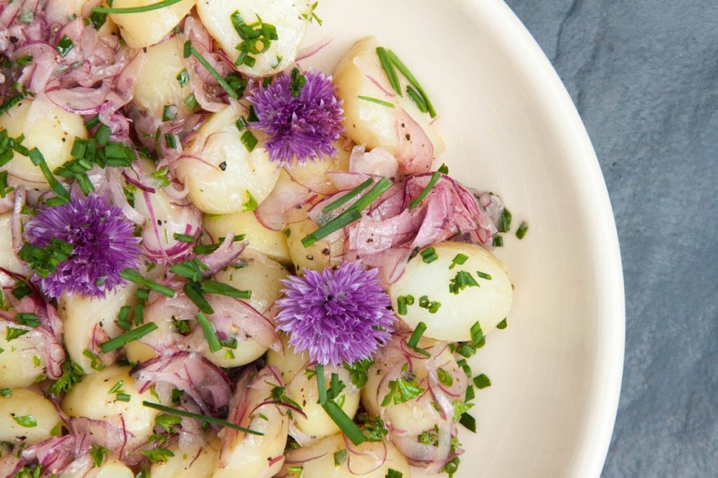 Light Baby Potato Salad with Pickled Onions