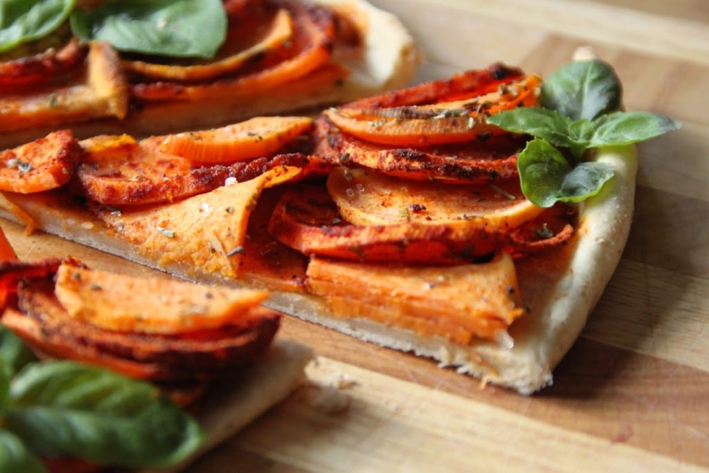Smokey Sweet Potato On Thin Crust Pizza