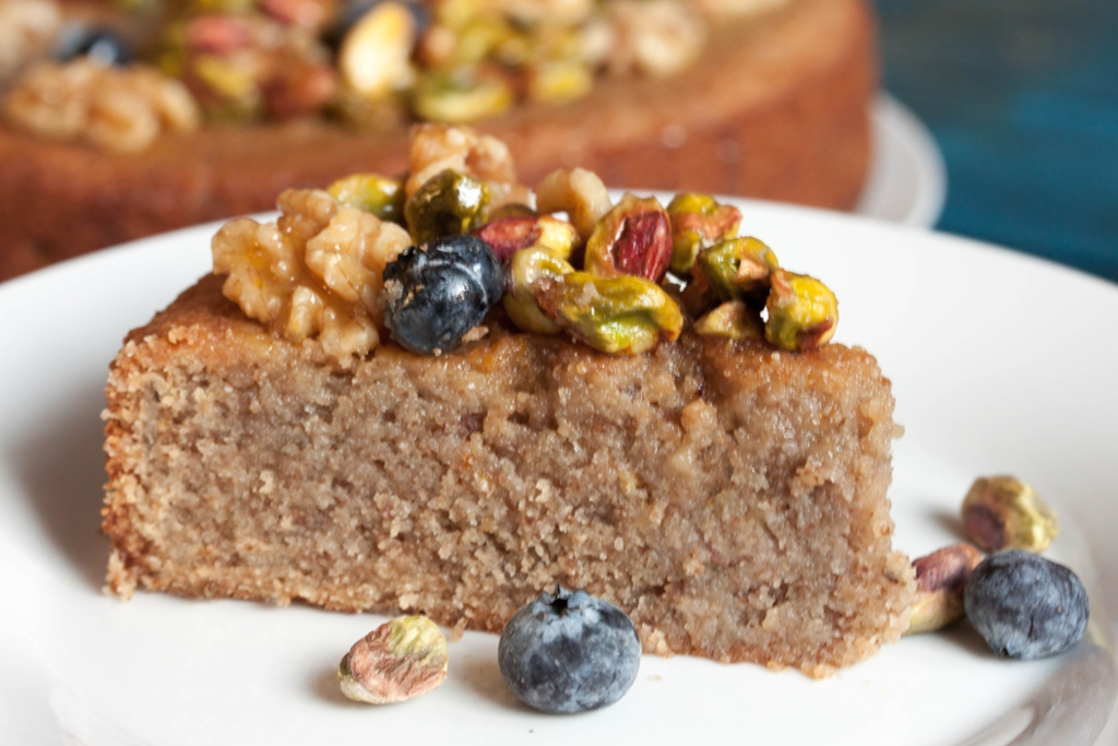 sticky walnut cake with orange syrup