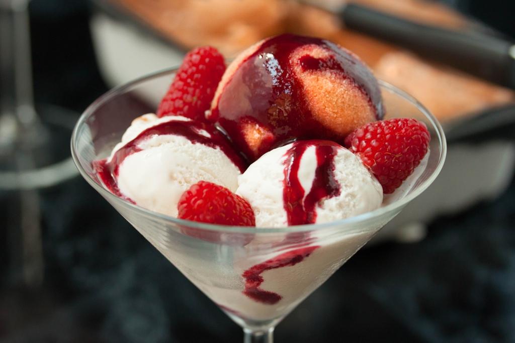 Peach Melba Sorbet with Vanilla Ice Cream