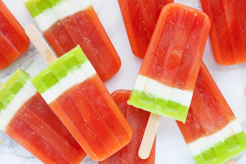 Strawberry and watermelon ice pops