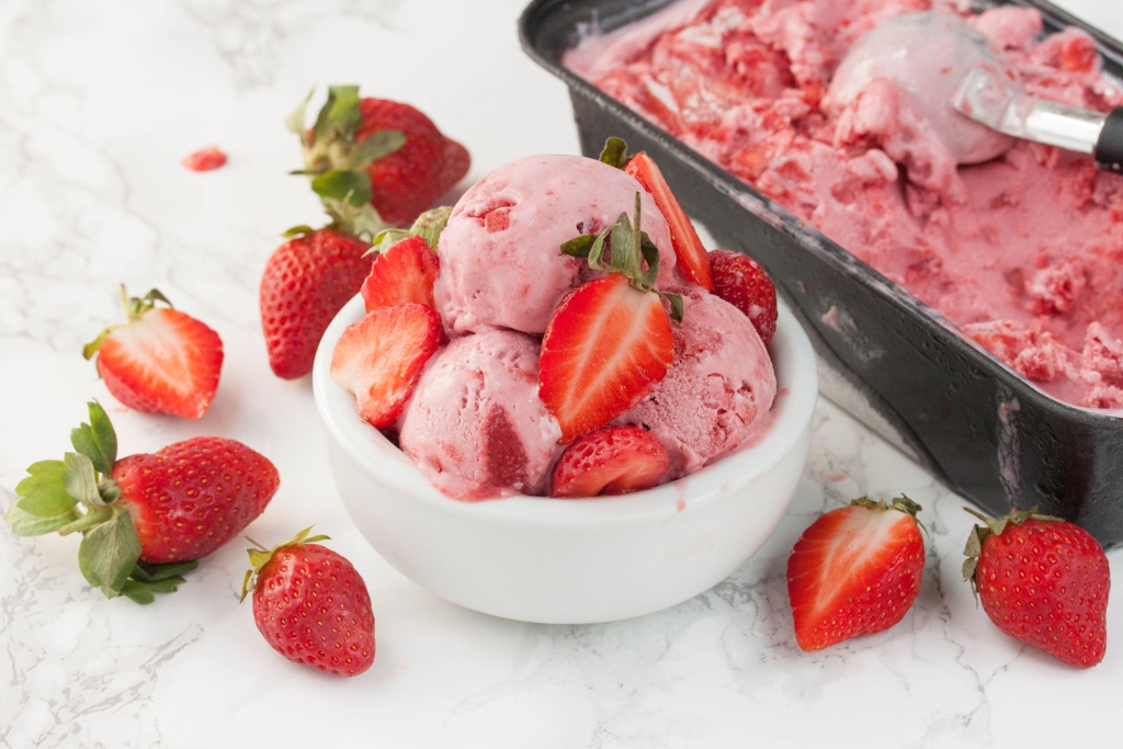 Triple Strawberry Ice Cream | The Greedy Vegan