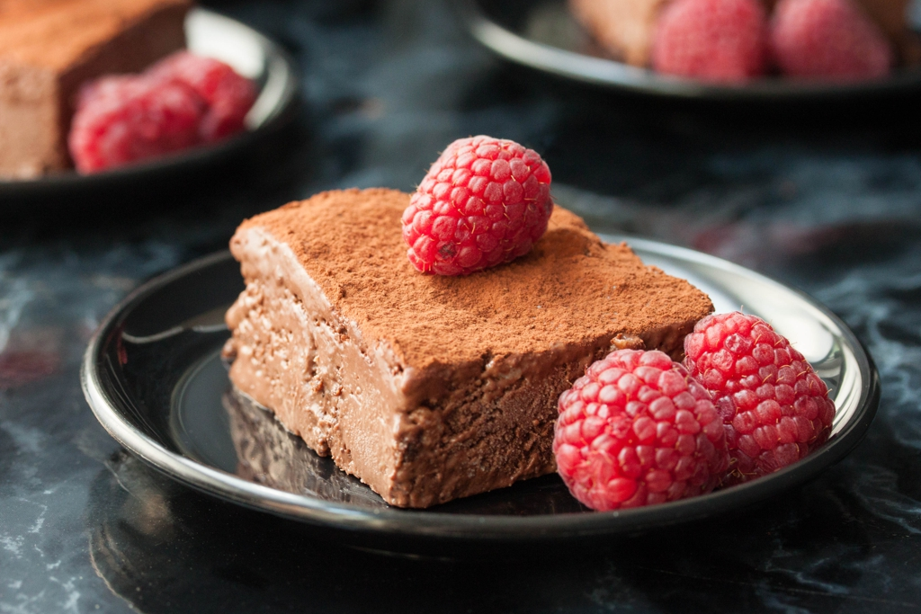 Vegan Brownie Bites in Chocolate Ice Cream