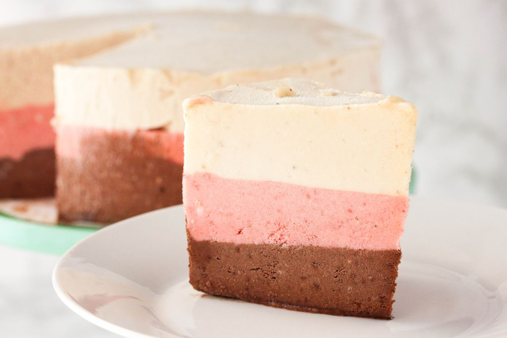 No Churn Neapolitan Ice Cream Cake
