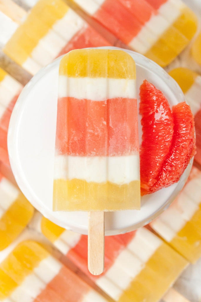 Peach and Grapefruit Ice Pops