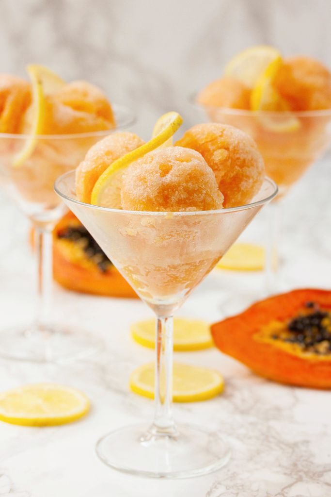 Papaya and Lemon Sorbet