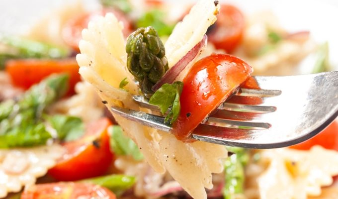 Light Mediterranean Pasta Salad with Asparagus